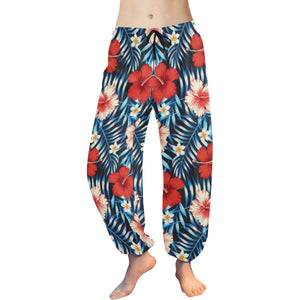 Red Hibiscus Hawaiian flower tropical Harem Pants