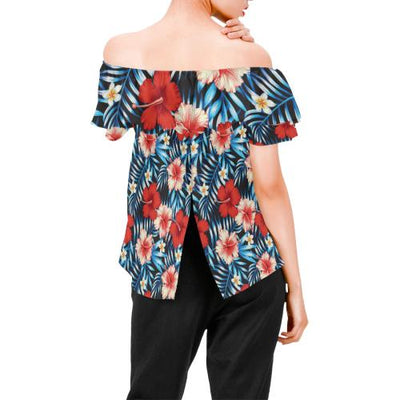 Red Hibiscus Hawaiian flower tropical Off Shoulder Ruffle Blouse