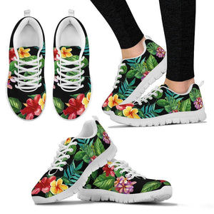 Red Hibiscus Hawaiian Tropical Flower Women Sneakers