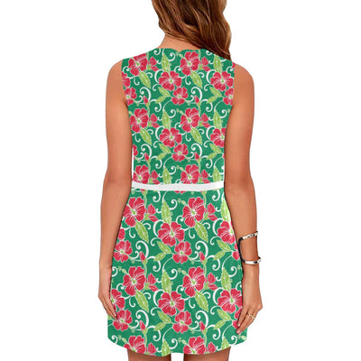 Red Hibiscus Pattern Print Design HB019 Sleeveless Mini Dress-JorJune