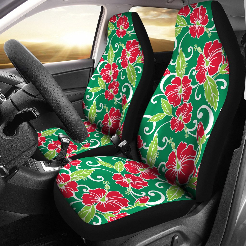 Red Hibiscus Pattern Print Design HB019 Universal Fit Car Seat Covers-JorJune