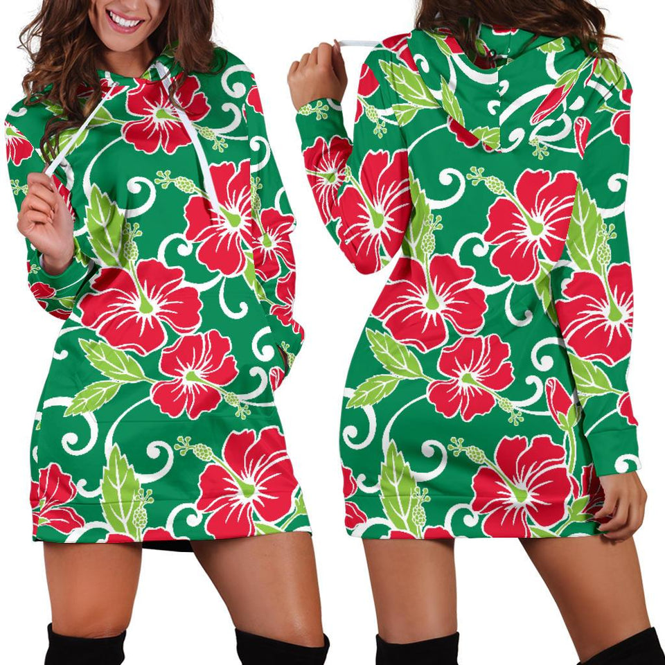 Red Hibiscus Pattern Print Design HB019 Women Hoodie Dress