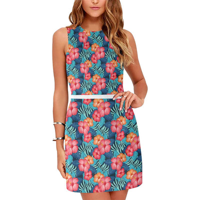 Red Hibiscus Pattern Print Design HB02 Sleeveless Mini Dress-JorJune