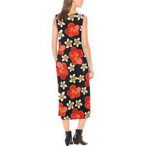 Red Hibiscus Pattern Print Design HB022 Sleeveless Open Fork Long Dress