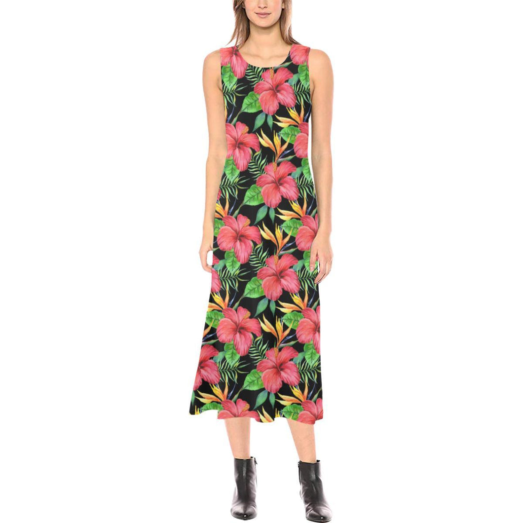 Red Hibiscus Pattern Print Design HB07 Sleeveless Open Fork Long Dress