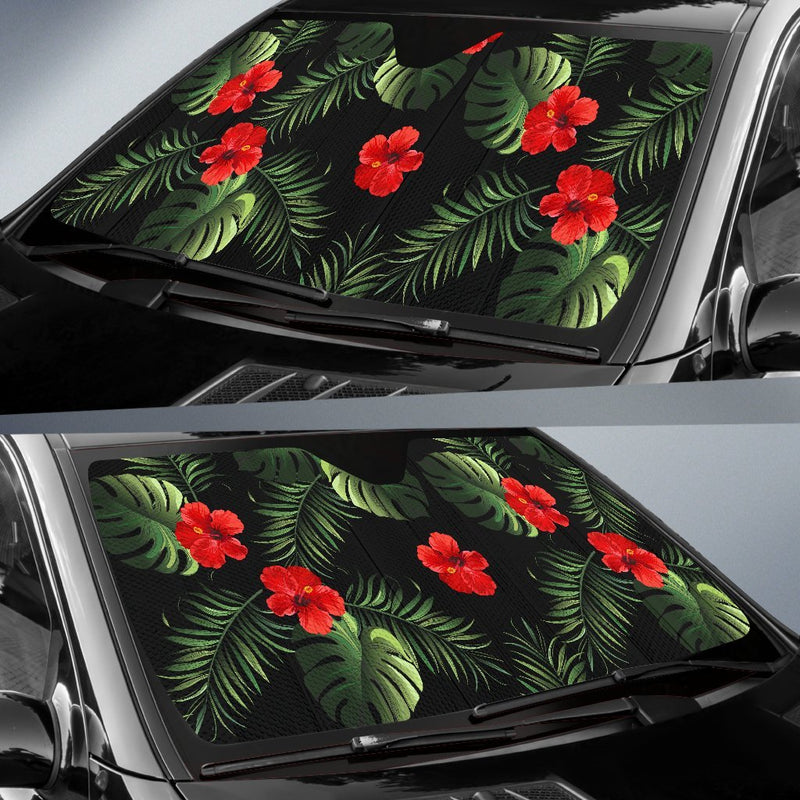 Red Hibiscus Tropical Car Sun Shade-JorJune