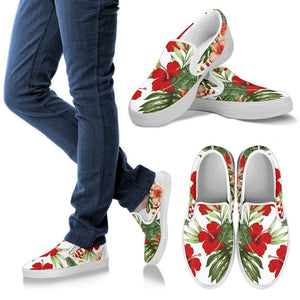 Red Hibiscus Tropical Flowers Men Canvas Slip On Shoes