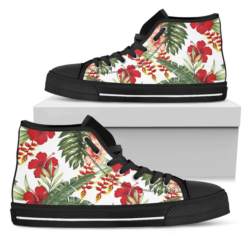 Red Hibiscus Tropical Flowers Men High Top Canvas Shoes