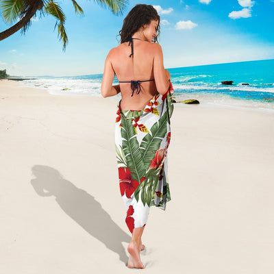 Red Hibiscus Tropical Flowers Beach Sarong Pareo Wrap