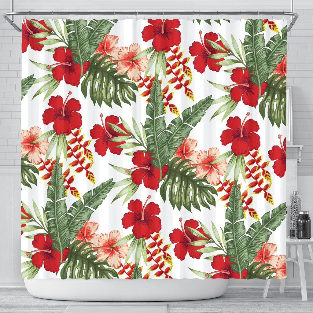 Red Hibiscus Tropical Flowers Shower Curtain