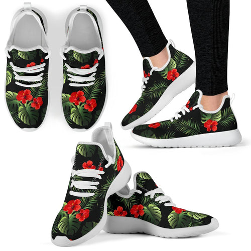 Red Hibiscus Tropical Mesh Knit Sneakers Shoes