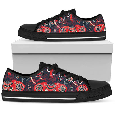Red Indian Elephant Pattern Men Low Top Shoes