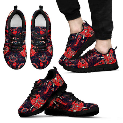 Red Indian Elephant Pattern Men Sneakers