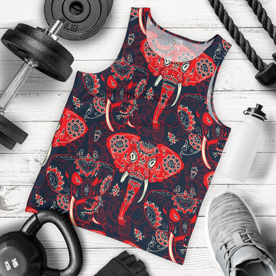 Red Indian Elephant Pattern Men Tank Top