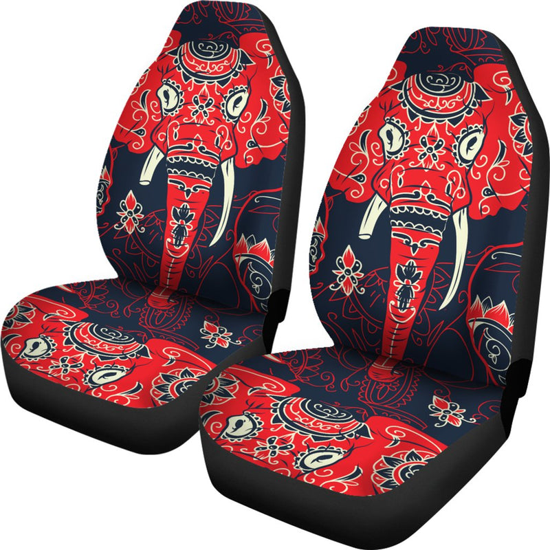 Red Indian Elephant Pattern Universal Fit Car Seat Covers