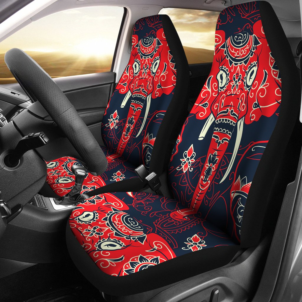 Red Indian Elephant Pattern Universal Fit Car Seat Covers Jorjune