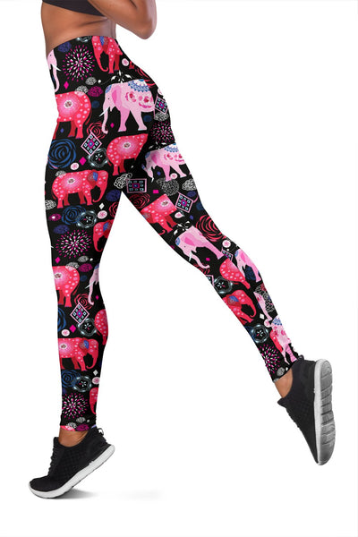 Red Indian Elephant Pattern Women Leggings