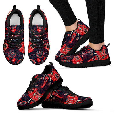 Red Indian Elephant Pattern Women Sneakers