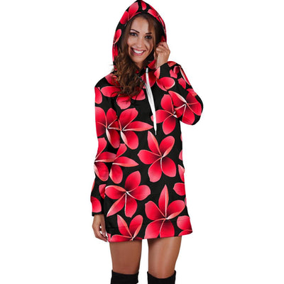 Red Plumeria Pattern Print Design PM025 Women Hoodie Dress