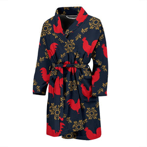 Rooster Pattern Print Design A02 Men Bathrobe-JORJUNE.COM
