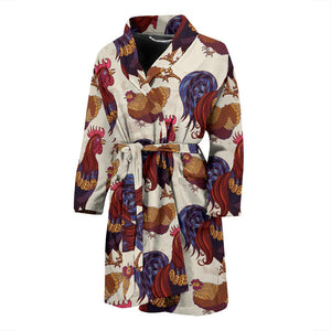 Rooster Pattern Print Design A03 Men Bathrobe-JORJUNE.COM