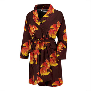 Rooster Pattern Print Design A04 Men Bathrobe-JORJUNE.COM