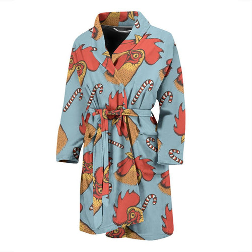 Rooster Pattern Print Design A05 Men Bathrobe-JORJUNE.COM
