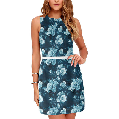 Rose Blue Pattern Print Design RO014 Sleeveless Mini Dress-JorJune