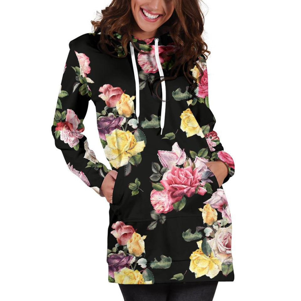 Rose Pattern Print Design RO010 Women Hoodie Dress