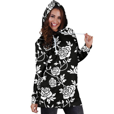 Rose Pattern Print Design RO013 Women Hoodie Dress