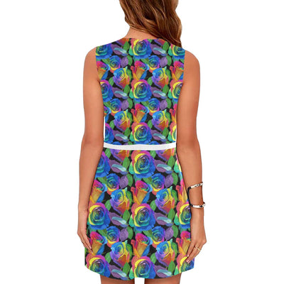 Rose Pattern Print Design RO02 Sleeveless Mini Dress-JorJune