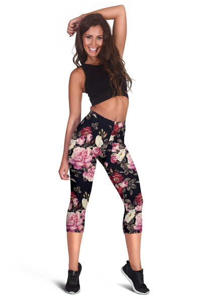 Rose Pattern Women Capris