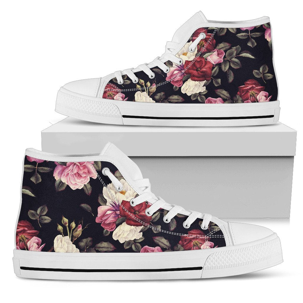 Rose Pattern Women High Top Shoes