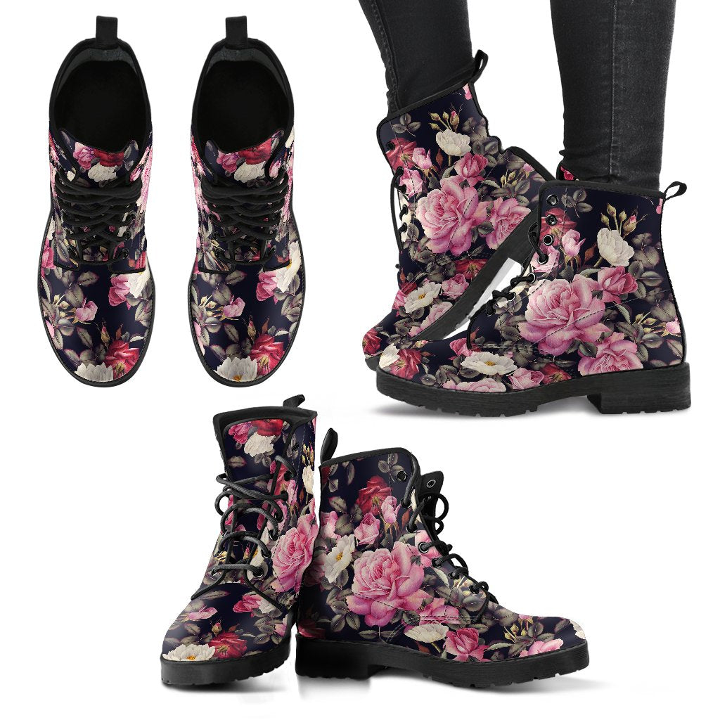 Rose Pattern Women Leather Boots