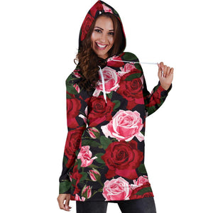 Rose Red Pink Pattern Print Design RO01 Women Hoodie Dress