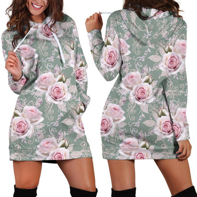 Rose White Pattern Print Design RO012 Women Hoodie Dress