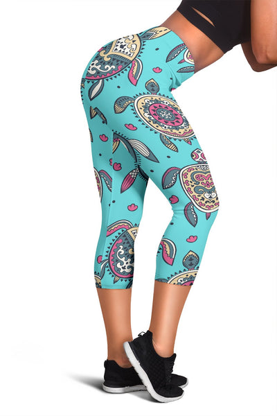 Sea Turtle Art Pattern Women Capris