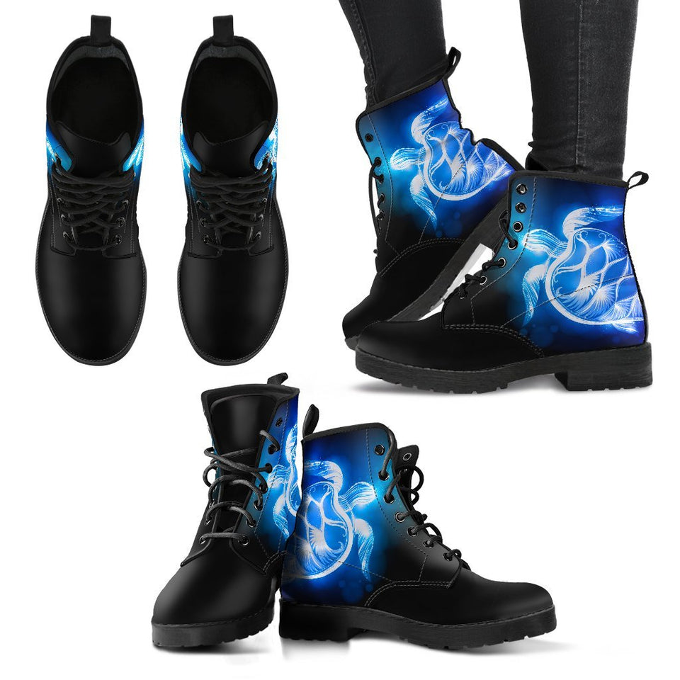 Sea Turtle Blue Neon Women & Men Leather Boots