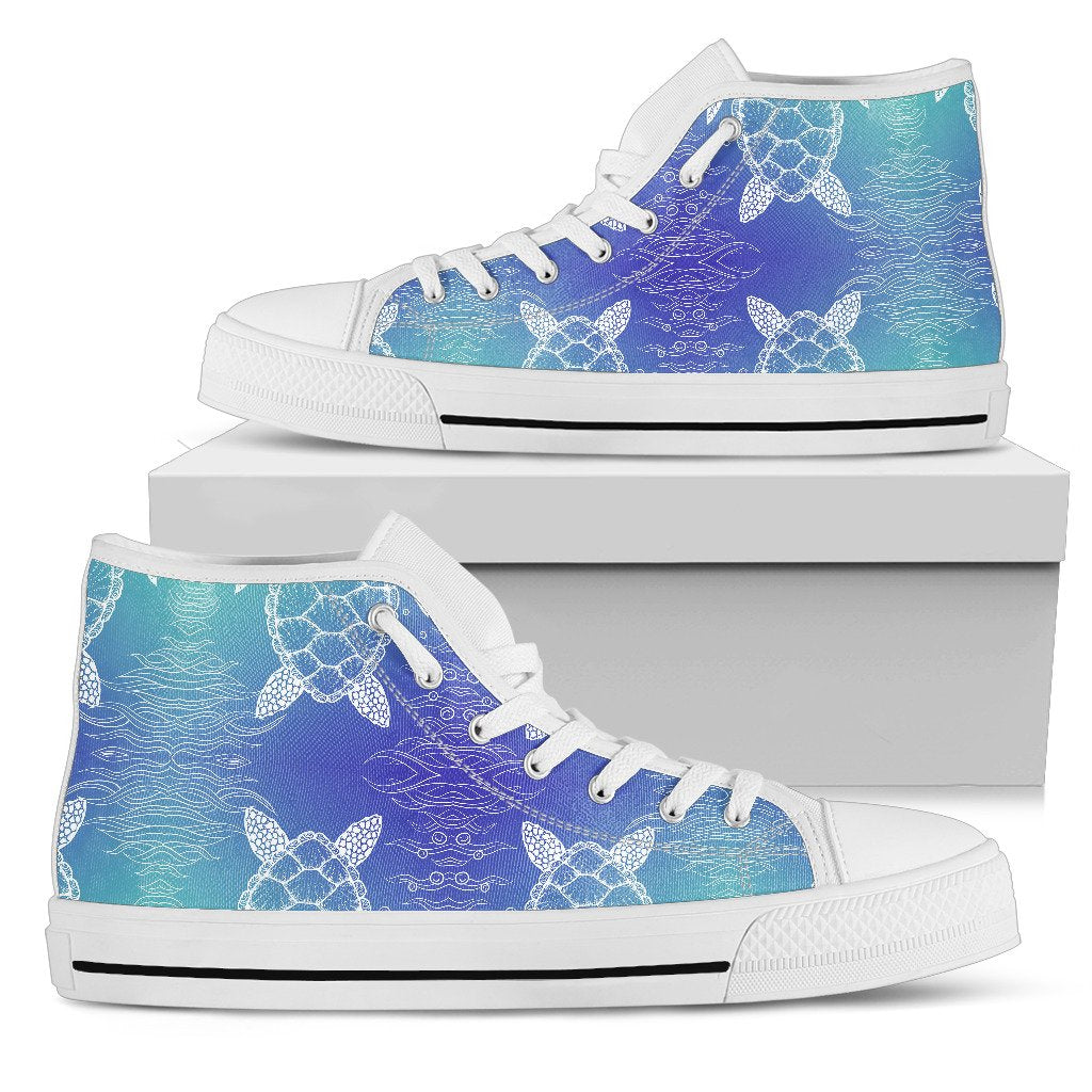Sea Turtle Draw Men High Top Shoes