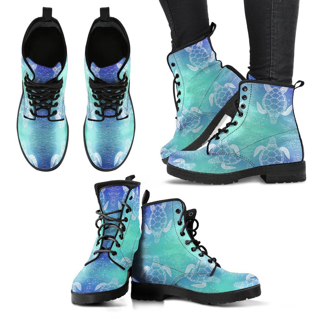 Sea Turtle Draw Women Leather Boots