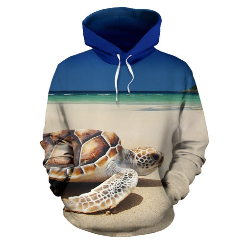 Sea Turtle on the Beach All Over Print Hoodie