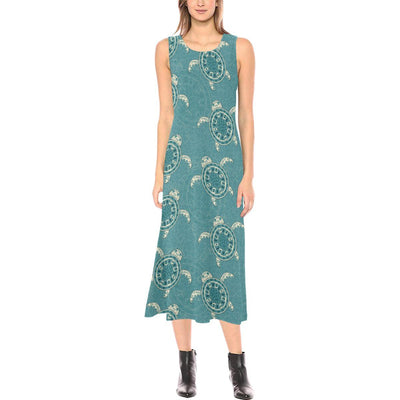 Sea Turtle Pattern Print Design T02 Sleeveless Open Fork Long Dress