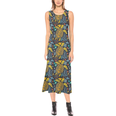 Sea Turtle Pattern Print Design T03 Sleeveless Open Fork Long Dress