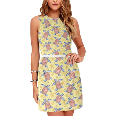 Sea Turtle Pattern Print Design T06 Sleeveless Mini Dress-JorJune