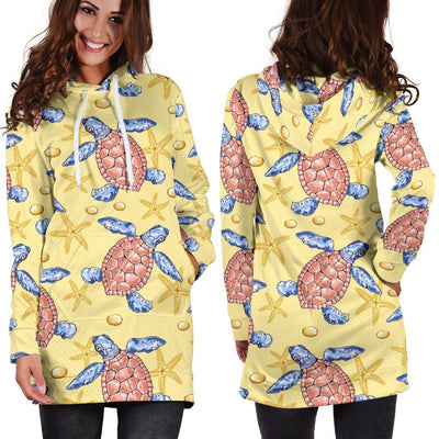 Sea Turtle Pattern Print Design T06 Women Hoodie Dress
