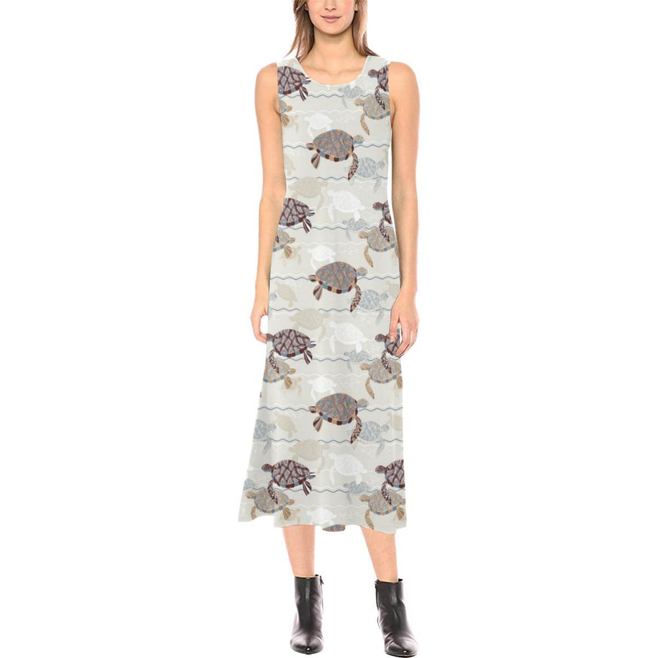 Sea Turtle Pattern Print Design T07 Sleeveless Open Fork Long Dress