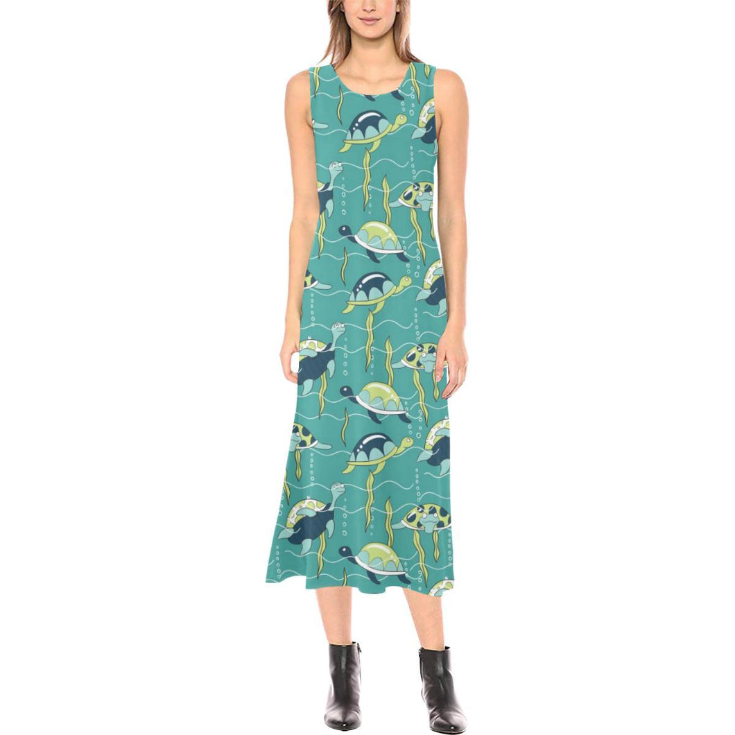Sea Turtle Pattern Print Design T08 Sleeveless Open Fork Long Dress