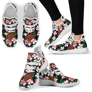 Sea Turtle Pink Hibiscus Hawaiian Print Mesh Knit Sneakers Shoes