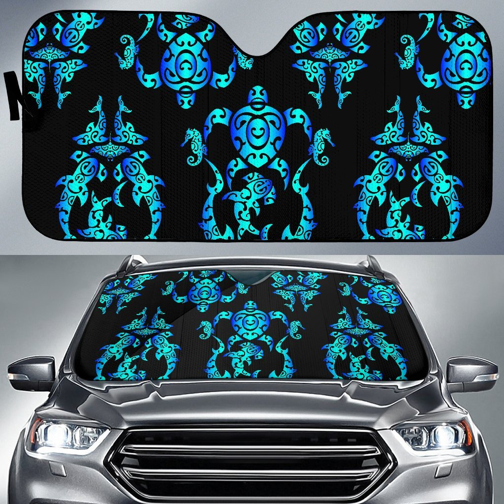 Sea Turtle Polynesian Tribal Hawaiian Car Sun Shade-JorJune