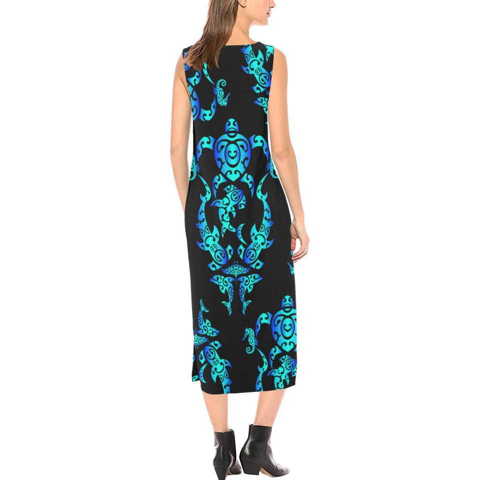 Sea turtle Polynesian Tribal Hawaiian Sleeveless Open Fork Long Dress